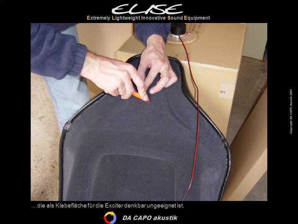 DA CAPO akustik Extremely Lightweight Innovative Sound Equipment Copyright DA CAPO akustik 2003 …die als Klebefläche für die Exciter denkbar ungeeigne