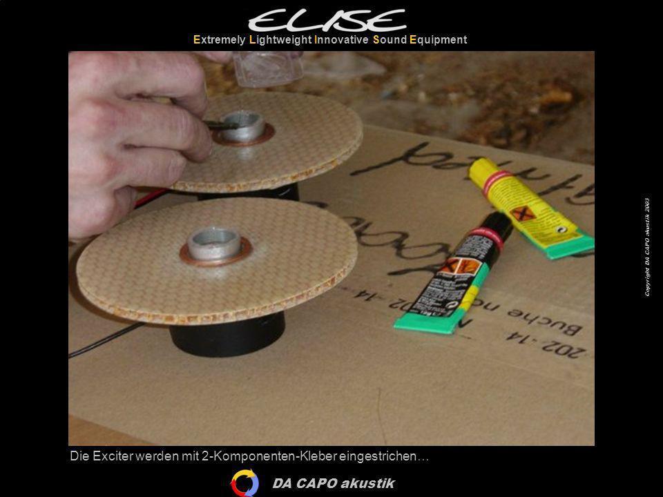 DA CAPO akustik Extremely Lightweight Innovative Sound Equipment Copyright DA CAPO akustik 2003 Die Exciter werden mit 2-Komponenten-Kleber eingestric