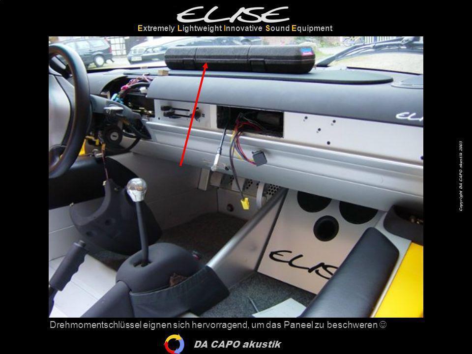 DA CAPO akustik Extremely Lightweight Innovative Sound Equipment Copyright DA CAPO akustik 2003 Drehmomentschlüssel eignen sich hervorragend, um das P