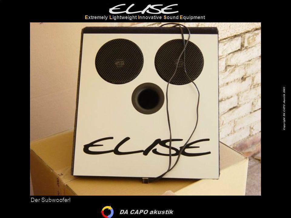 DA CAPO akustik Extremely Lightweight Innovative Sound Equipment Copyright DA CAPO akustik 2003 Und schon isser drin.
