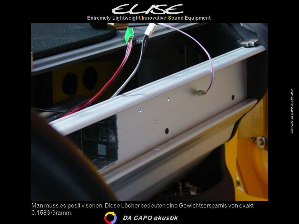 DA CAPO akustik Extremely Lightweight Innovative Sound Equipment Copyright DA CAPO akustik 2003 Die Bohrspäne sollte man mit einem Staubsauger entfernen.