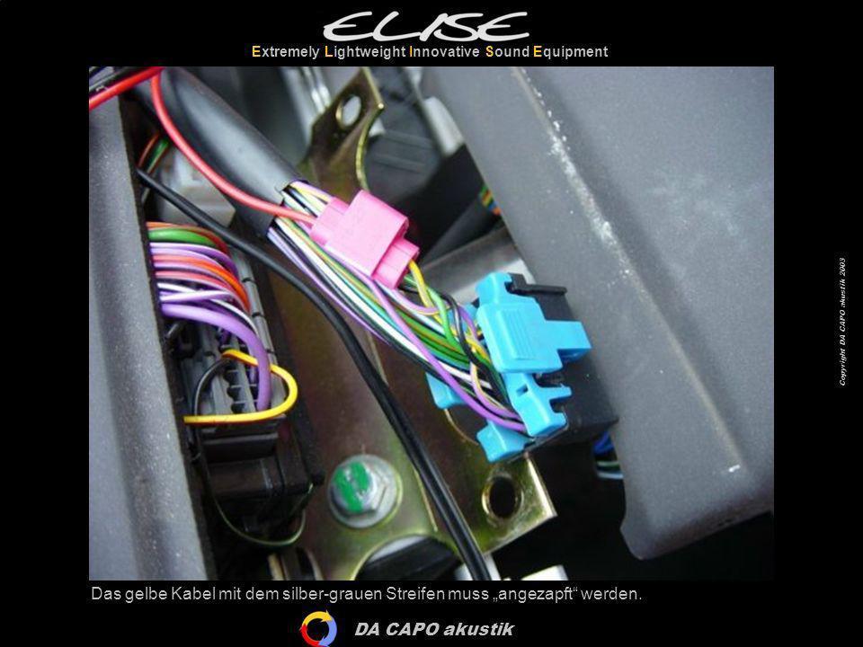 DA CAPO akustik Extremely Lightweight Innovative Sound Equipment Copyright DA CAPO akustik 2003 Das gelbe Kabel mit dem silber-grauen Streifen muss an