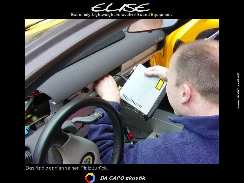 DA CAPO akustik Extremely Lightweight Innovative Sound Equipment Copyright DA CAPO akustik 2003 Sieht fast schon wieder komplett aus…