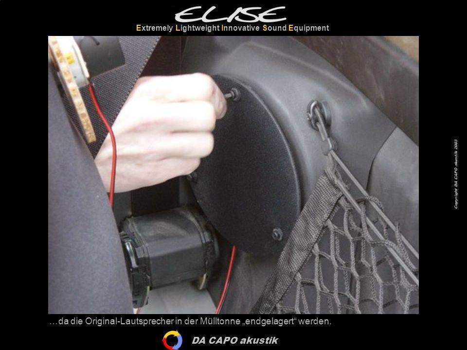 DA CAPO akustik Extremely Lightweight Innovative Sound Equipment Copyright DA CAPO akustik 2003 Und damit ist die Installation des Elise Audio Systems komplett!