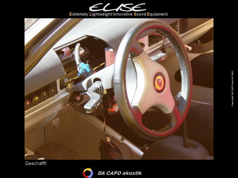 DA CAPO akustik Extremely Lightweight Innovative Sound Equipment Copyright DA CAPO akustik 2003 Die Aluminium-Abdeckungen müssen demontiert werden...