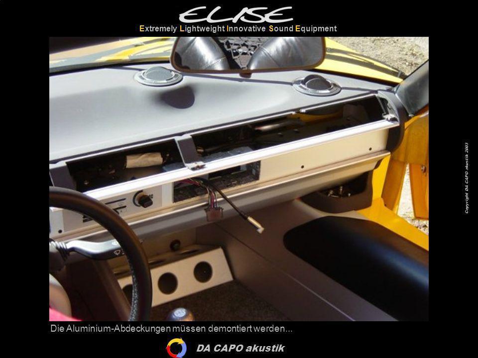 DA CAPO akustik Extremely Lightweight Innovative Sound Equipment Copyright DA CAPO akustik 2003 …und leider auch die Sitze.