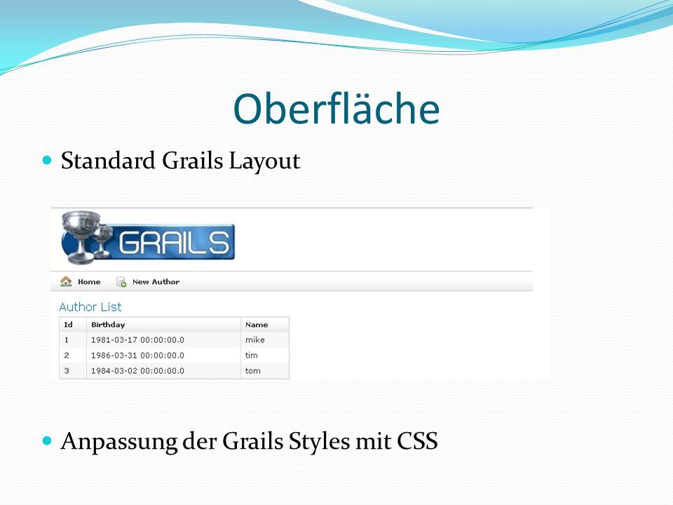 Oberfläche Standard Grails Layout Anpassung der Grails Styles mit CSS