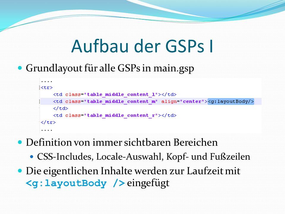 Aufbau der GSPs I Grundlayout für alle GSPs in main.gsp Definition von immer sichtbaren Bereichen CSS-Includes, Locale-Auswahl, Kopf- und Fußzeilen Di