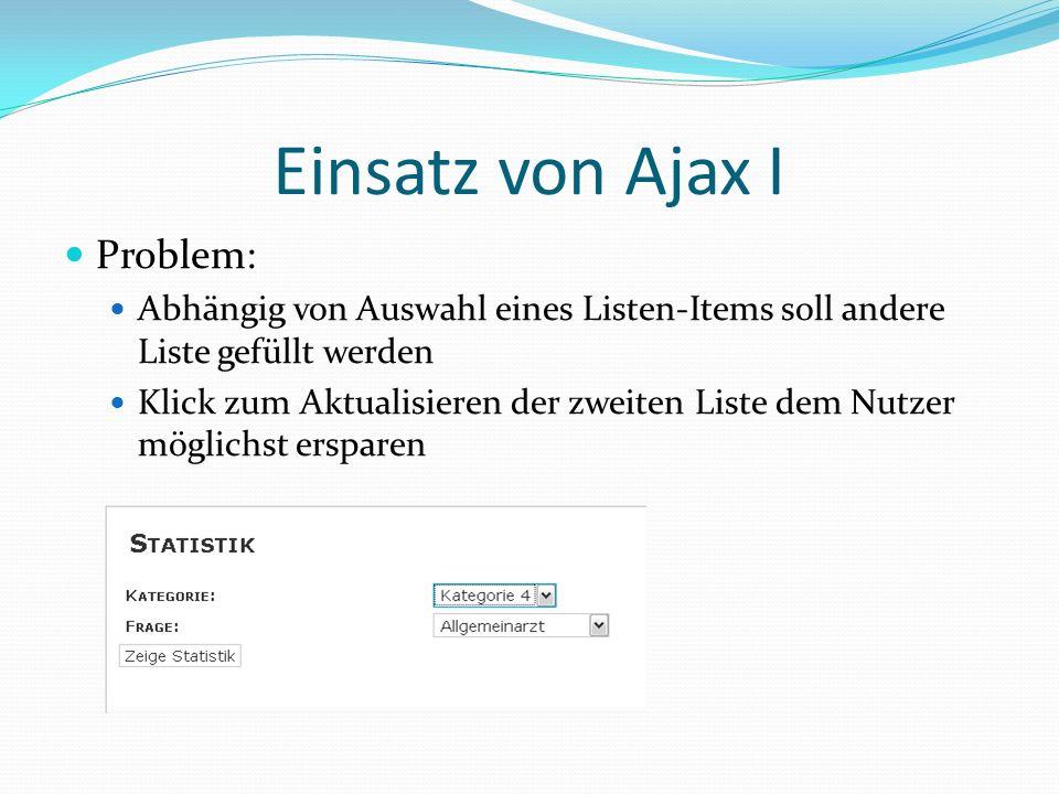 Einsatz von Ajax I Problem: Abhängig von Auswahl eines Listen-Items soll andere Liste gefüllt werden Klick zum Aktualisieren der zweiten Liste dem Nut