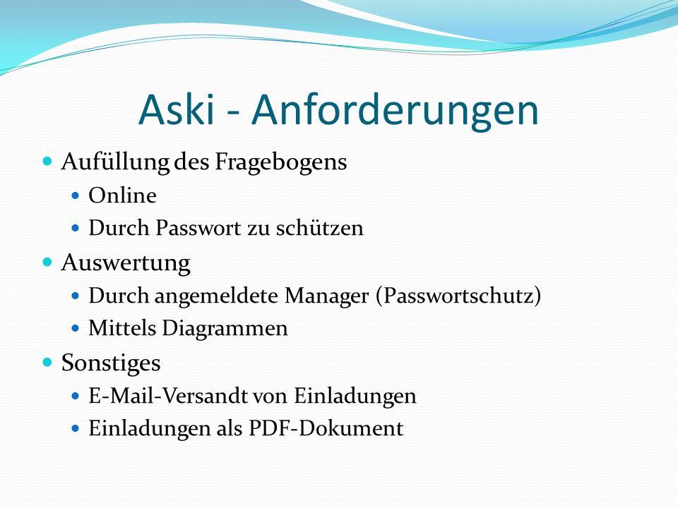Aufüllung des Fragebogens Online Durch Passwort zu schützen Auswertung Durch angemeldete Manager (Passwortschutz) Mittels Diagrammen Sonstiges E-Mail-