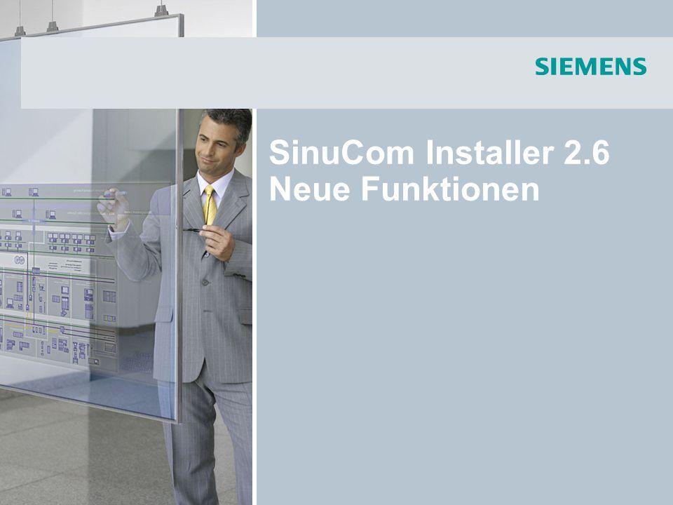 SinuCom Installer 2.6 Neue Funktionen