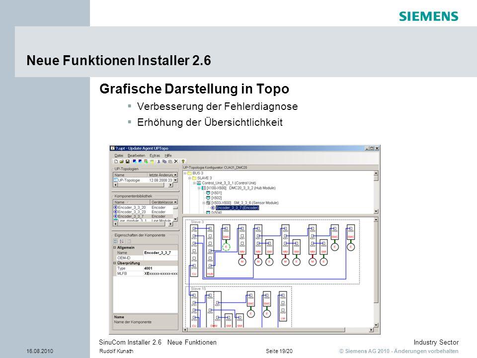 © Siemens AG 2010 - Änderungen vorbehalten Industry Sector 16.08.2010Rudolf KunathSeite 19/20 SinuCom Installer 2.6 Neue Funktionen Neue Funktionen In