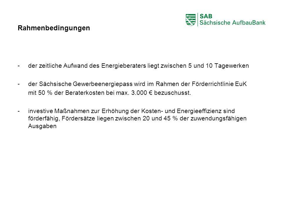 ABCDEF Rahmenbedingungen -der zeitliche Aufwand des Energieberaters liegt zwischen 5 und 10 Tagewerken -der Sächsische Gewerbeenergiepass wird im Rahm