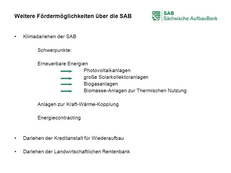ABCDEF Weitere Fördermöglichkeiten über die SAB Klimadarlehen der SAB Schwerpunkte: Erneuerbare Energien Photovoltaikanlagen große Solarkollektoranlag