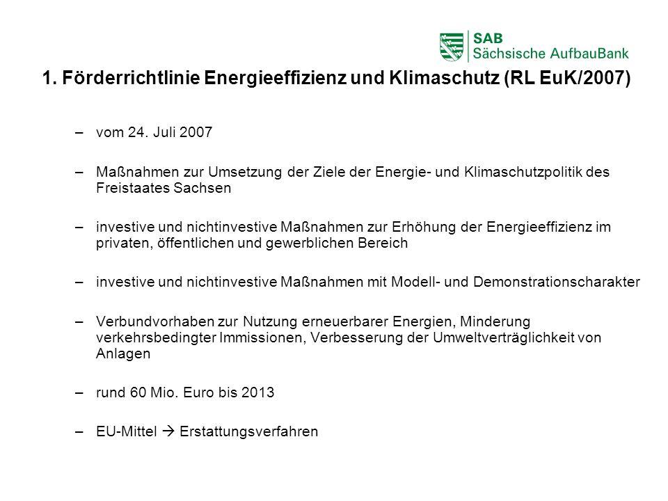 ABCDEF 1. Förderrichtlinie Energieeffizienz und Klimaschutz (RL EuK/2007) –vom 24. Juli 2007 –Maßnahmen zur Umsetzung der Ziele der Energie- und Klima