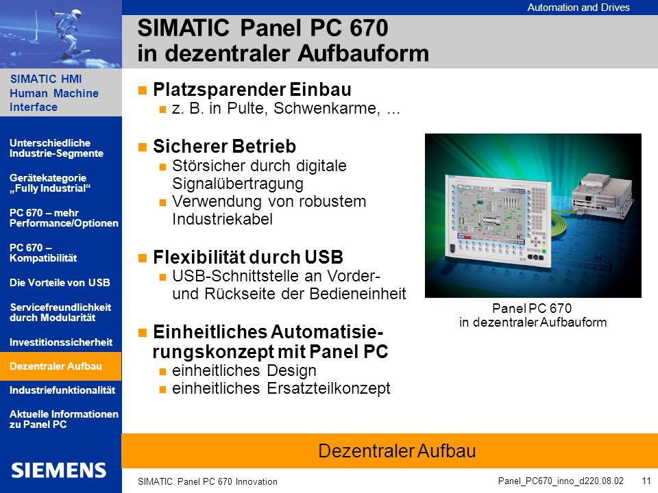 Automation and Drives SIMATIC HMI Human Machine Interface Panel_PC670_inno_d220.08.02 11 SIMATIC Panel PC 670 Innovation SIMATIC Panel PC 670 in dezen