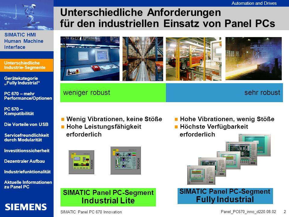 Automation and Drives SIMATIC HMI Human Machine Interface Panel_PC670_inno_d220.08.02 13 SIMATIC Panel PC 670 Innovation SIMATIC Panel PC Wichtige Informationen für Akquisition, Service, Support http://www.siemens.de/panel-pc Aktuellste Bestellinformationen zu Panel PCs: Intranet-Konfigurator: http://intra1.nbgm.siemens.de/pcconfig Ersatzteile für Panel PCs: Ersatzteil-Datenbank: http://intra1.khe.siemens.de/plz41/html_00/e_listen.htm Alles rund um Service und Support: A&D Service&Support Web-Pages: http://www.ad.siemens.de/support Kurzbeschreibung SIMATIC Panel PC: Deutsch6ZB5370-1BF01-0BA1 Englisch6ZB5370-1BF02-0BA2 Französisch6ZB5370-1BF03-0BA2 Italienisch6ZB5370-1BF05-0BA3 Spanisch6ZB5370-1BF04-0BA2 Unterschiedliche Industrie-Segmente PC 670 – mehr Performance/Optionen Gerätekategorie Fully Industrial Servicefreundlichkeit durch Modularität PC 670 – Kompatibilität Aktuelle Informationen zu Panel PC Die Vorteile von USB Industriefunktionalität Dezentraler Aufbau Investitionssicherheit