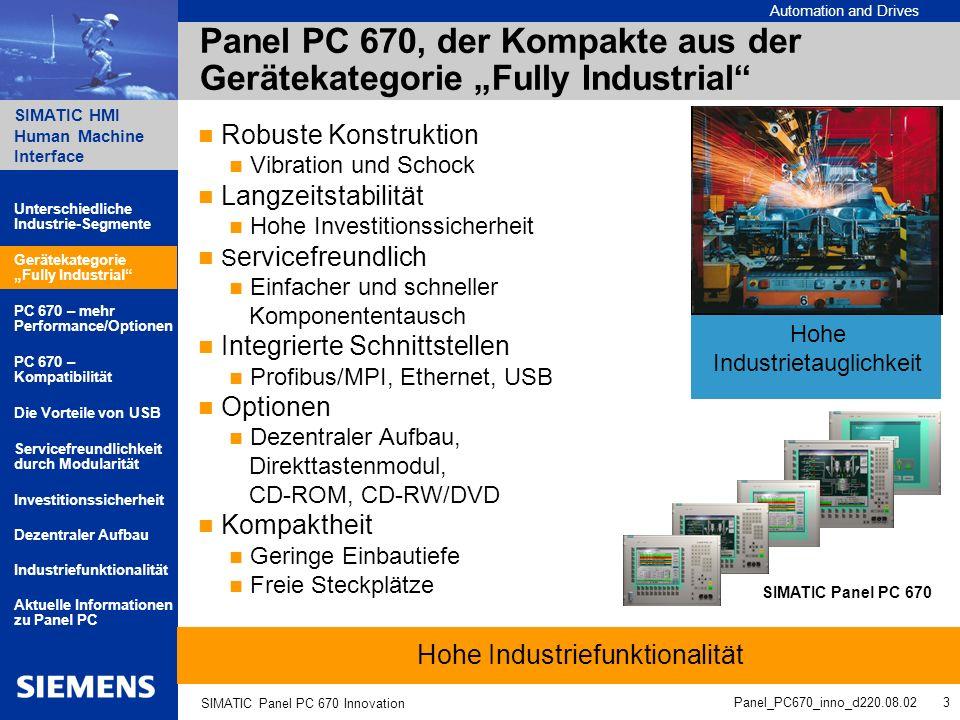 Automation and Drives SIMATIC HMI Human Machine Interface Panel_PC670_inno_d220.08.02 4 SIMATIC Panel PC 670 Innovation SIMATIC Panel PC 670 – der Kompakte mit deutlich mehr Performance / Optionen PC 670 bisher Der innovierte PC 670 Prozessor PIII 500 MHz Celeron 500 MHz PIII 1,26 GHz Celeron 1,2 GHz Betriebssysteme Win98/NT/2000 Ohne/Win98/NT/2000 Win XP ab 10/02 Laufwerke Diskettenlaufwerk Festplatte 20 GB / 40 GB CD-ROM optional Diskettenlaufwerk Festplatte 20 GB / 40 GB CD-ROM optional CD-RW/DVD optional Speicherausbau 64 MB Basisausstattung; bis 256 MB bestellbar 128 MB Basisausstattung; bis 512 MB bestellbar USB-Schnittstellen 1 x frontseitig 1 x rückseitig 1 x frontseitig 2 x rückseitig Unterschiedliche Industrie-Segmente PC 670 – mehr Performance/Optionen Gerätekategorie Fully Industrial Servicefreundlichkeit durch Modularität PC 670 – Kompatibilität Aktuelle Informationen zu Panel PC Die Vorteile von USB Industriefunktionalität Dezentraler Aufbau Investitionssicherheit