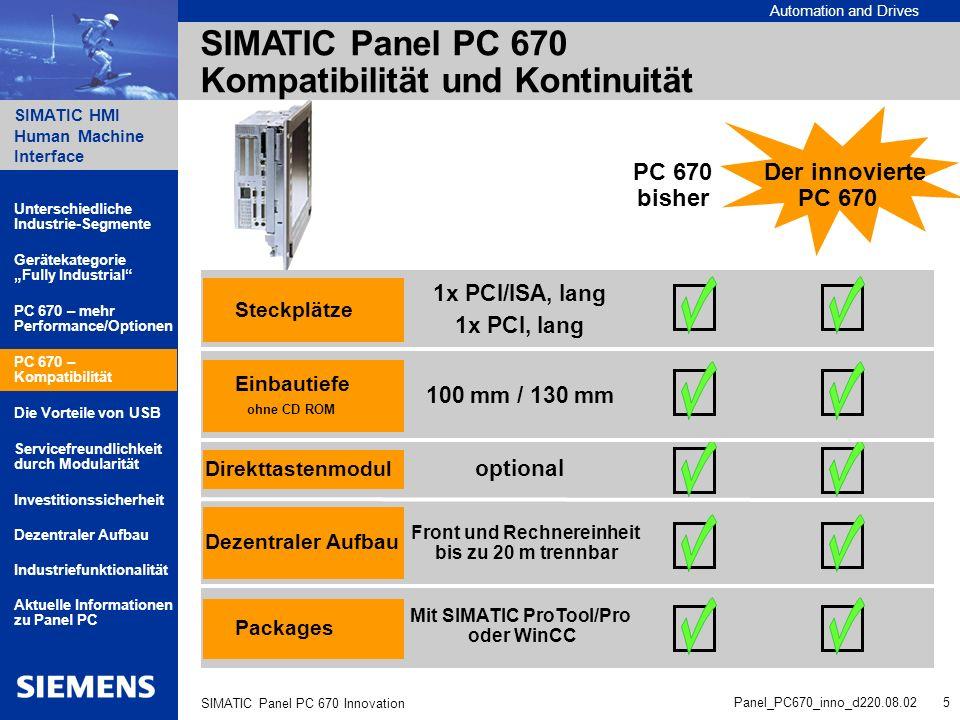 Automation and Drives SIMATIC HMI Human Machine Interface Panel_PC670_inno_d220.08.02 6 SIMATIC Panel PC 670 Innovation SIMATIC Panel PC 670 - Die Vorteile von USB nutzen.