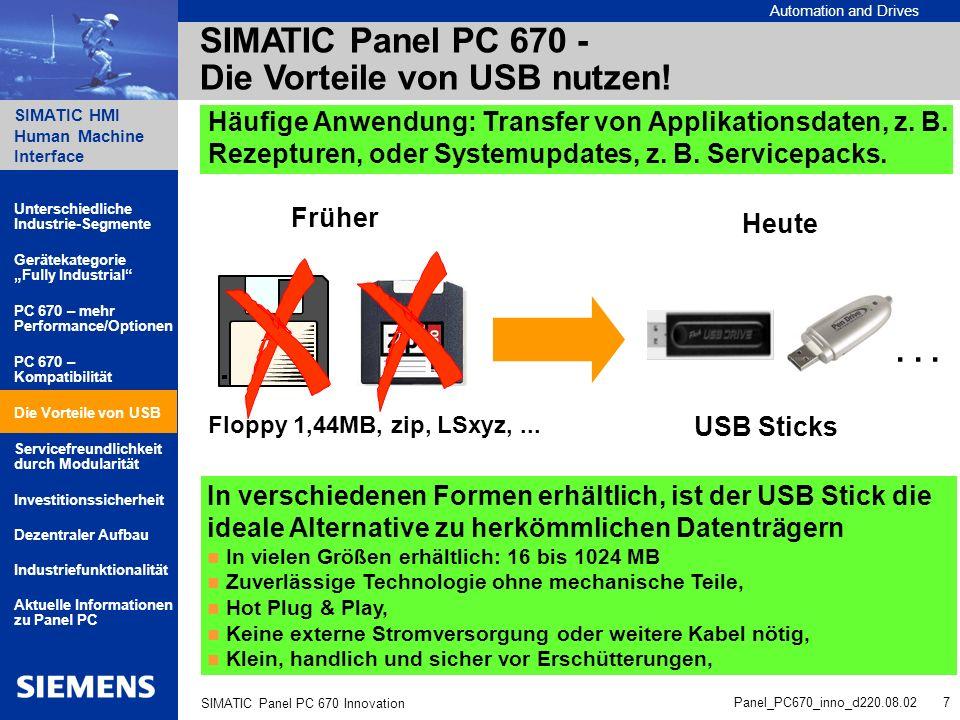 Automation and Drives SIMATIC HMI Human Machine Interface Panel_PC670_inno_d220.08.02 8 SIMATIC Panel PC 670 Innovation Die Bedieneinheit ist leicht von der Rechnereinheit trennbar Lösen der 4 Verbindungsschrauben Wegklappen der Box von der Front Eine Scharnierverbindung sichert die Box vor dem Herausfallen 2 Kabel-Steckverbinder lösen und Box aus den Scharnierhaken heben Die Bedieneinheit kann im Schaltschrank eingebaut bleiben.