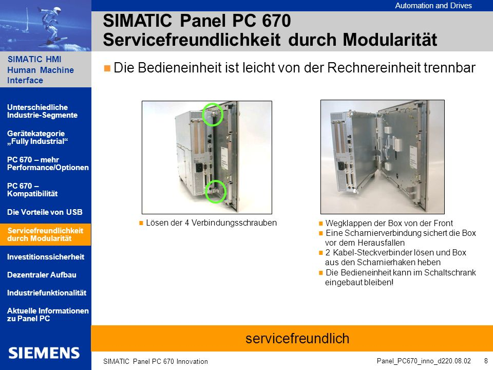 Automation and Drives SIMATIC HMI Human Machine Interface Panel_PC670_inno_d220.08.02 9 SIMATIC Panel PC 670 Innovation Einfacher Ein-/Ausbau von Komponenten aufgrund des modularen Aufbaus, z.B.