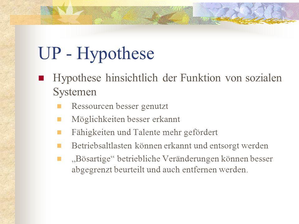 UP - Hypothese Hypothese hinsichtlich der Funktion von sozialen Systemen Ressourcen besser genutzt Möglichkeiten besser erkannt Fähigkeiten und Talent