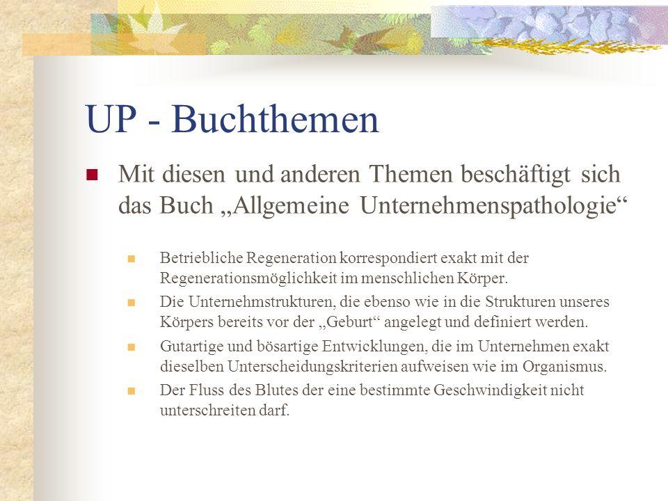 UP - Buchthemen Mit diesen und anderen Themen beschäftigt sich das Buch Allgemeine Unternehmenspathologie Betriebliche Regeneration korrespondiert exa