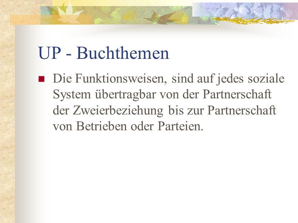 UP - Buchthemen Die Funktionsweisen, sind auf jedes soziale System übertragbar von der Partnerschaft der Zweierbeziehung bis zur Partnerschaft von Bet