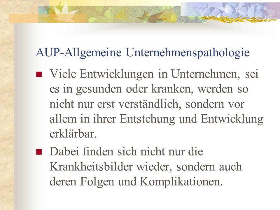 AUP-Allgemeine Unternehmenspathologie Viele Entwicklungen in Unternehmen, sei es in gesunden oder kranken, werden so nicht nur erst verständlich, sond