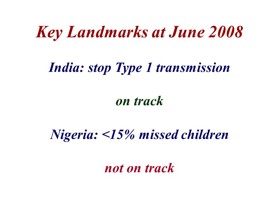 Key Landmarks at June 2008 India: stop Type 1 transmission on track Nigeria: <15% missed children not on track