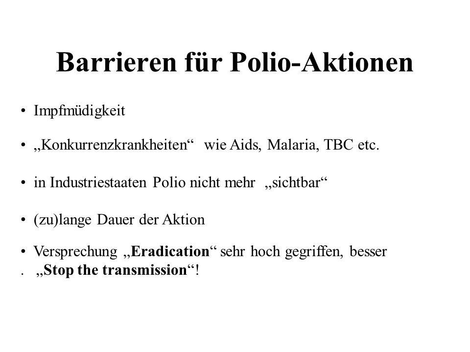 Barrieren für Polio-Aktionen Impfmüdigkeit Konkurrenzkrankheiten wie Aids, Malaria, TBC etc. in Industriestaaten Polio nicht mehr sichtbar (zu)lange D