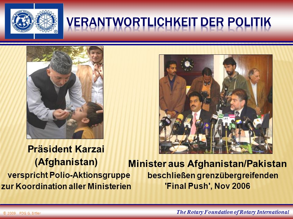 The Rotary Foundation of Rotary International Minister aus Afghanistan/Pakistan beschließen grenzübergreifenden 'Final Push', Nov 2006 Präsident Karza