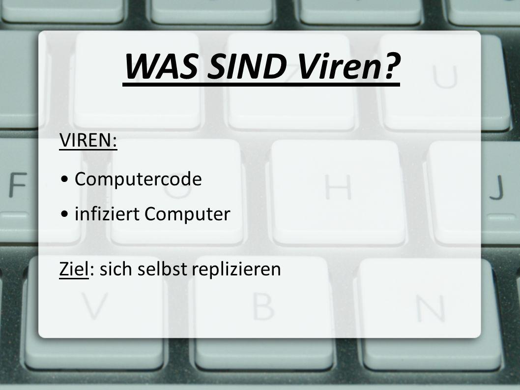 WAS SIND Viren? VIREN: Computercode infiziert Computer Ziel: sich selbst replizieren