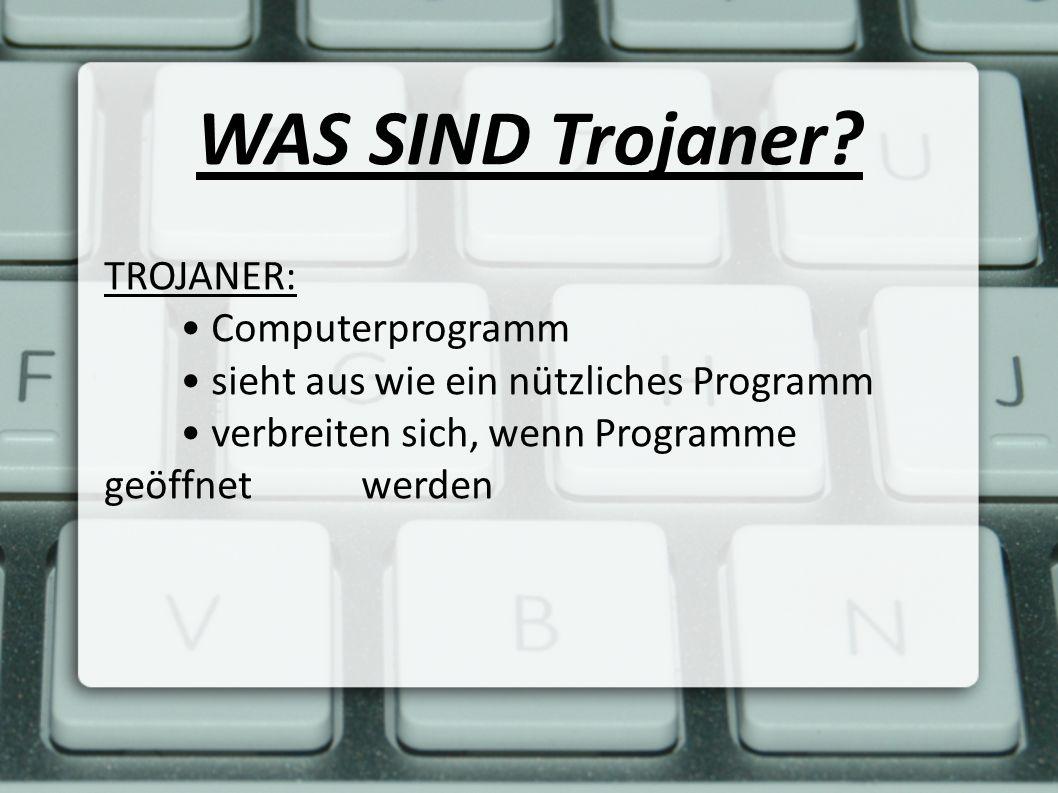 WAS SIND Trojaner? TROJANER: Computerprogramm sieht aus wie ein nützliches Programm verbreiten sich, wenn Programme geöffnet werden