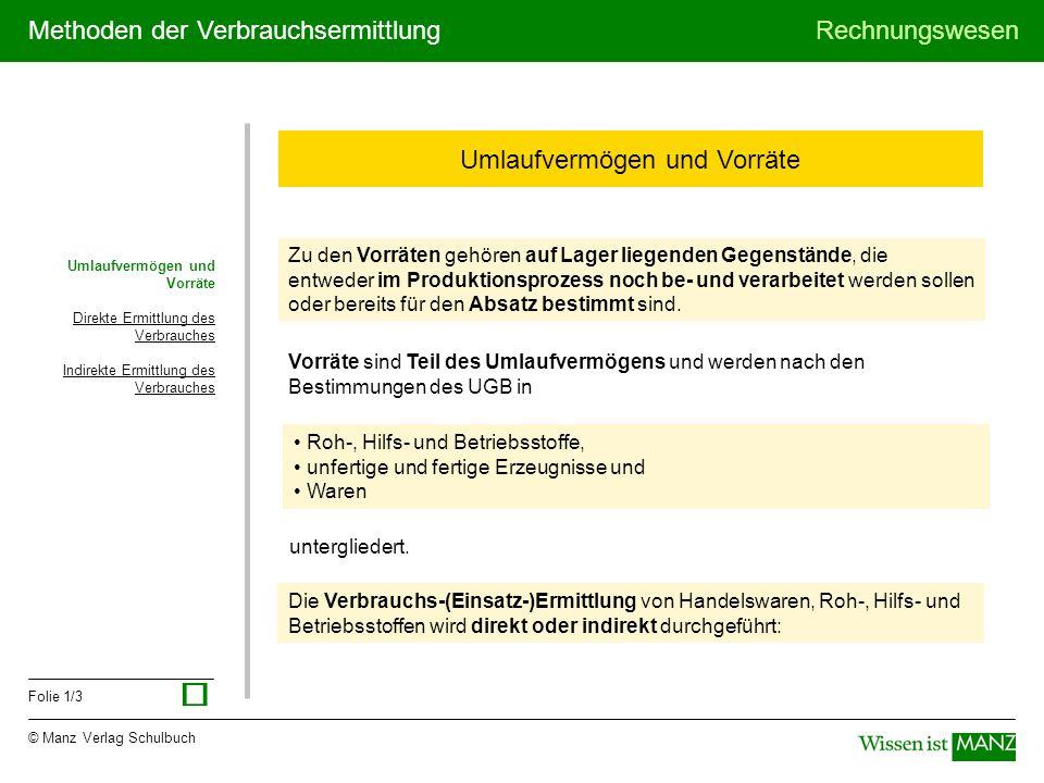 © Manz Verlag Schulbuch Rechnungswesen Folie 1/3 Methoden der Verbrauchsermittlung Umlaufvermögen und Vorräte Direkte Ermittlung des Verbrauches Indir