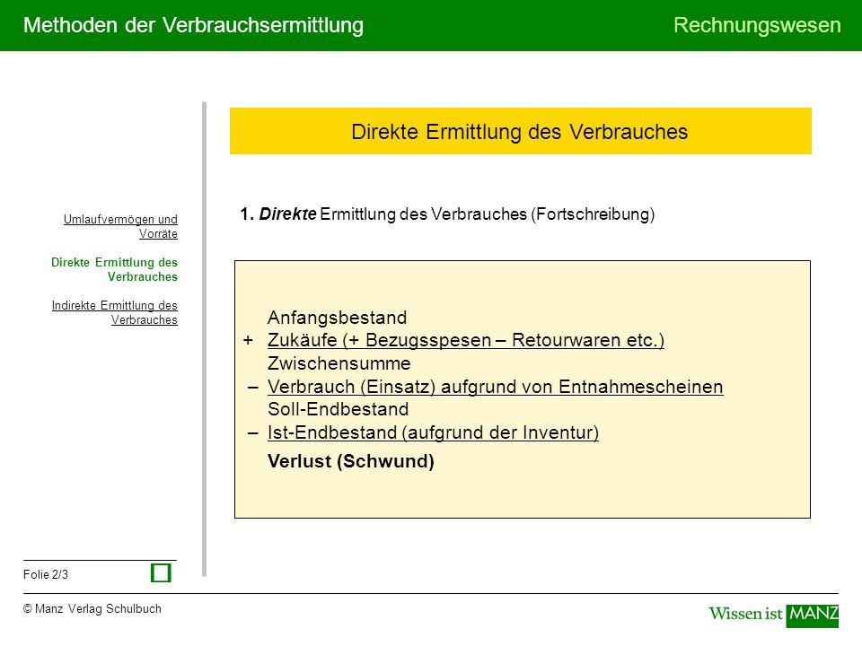 © Manz Verlag Schulbuch Rechnungswesen Folie 2/3 Methoden der Verbrauchsermittlung Umlaufvermögen und Vorräte Direkte Ermittlung des Verbrauches Indir