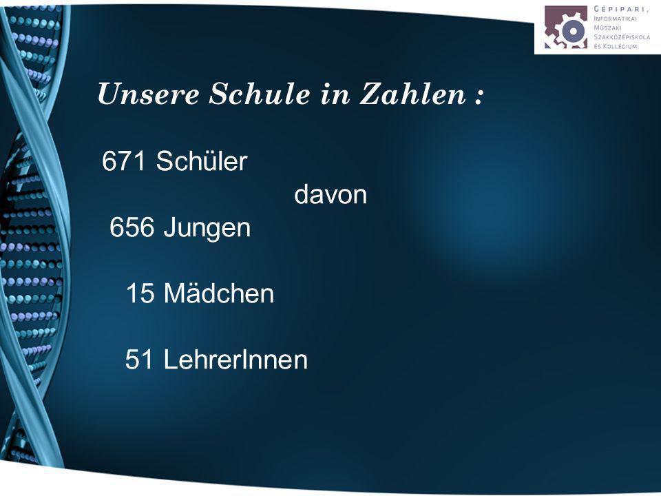 671 Schüler davon 656 Jungen 15 Mädchen 51 LehrerInnen Unsere Schule in Zahlen :