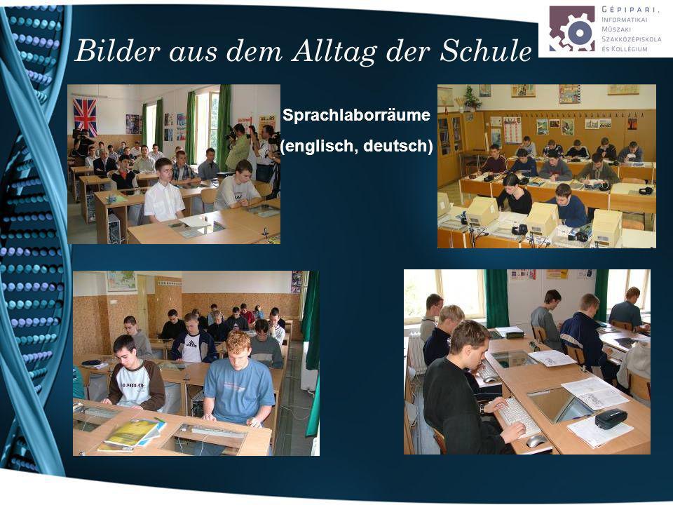 Bilder aus dem Alltag der Schule Sprachlaborräume (englisch, deutsch)