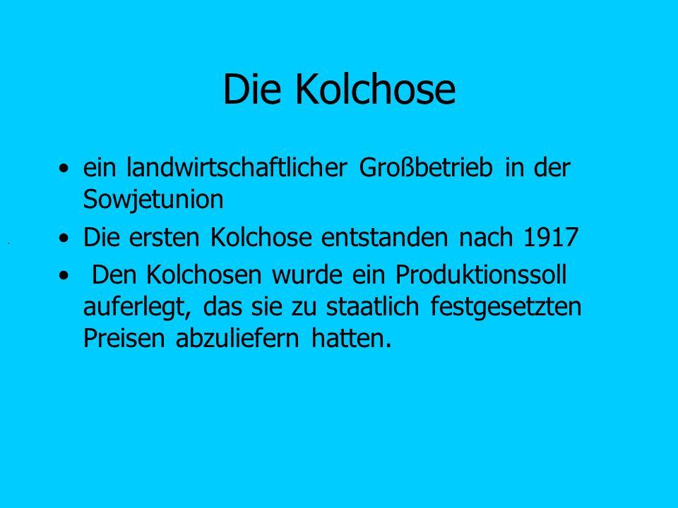 Die Kolchose ein landwirtschaftlicher Großbetrieb in der Sowjetunion Die ersten Kolchose entstanden nach 1917 Den Kolchosen wurde ein Produktionssoll