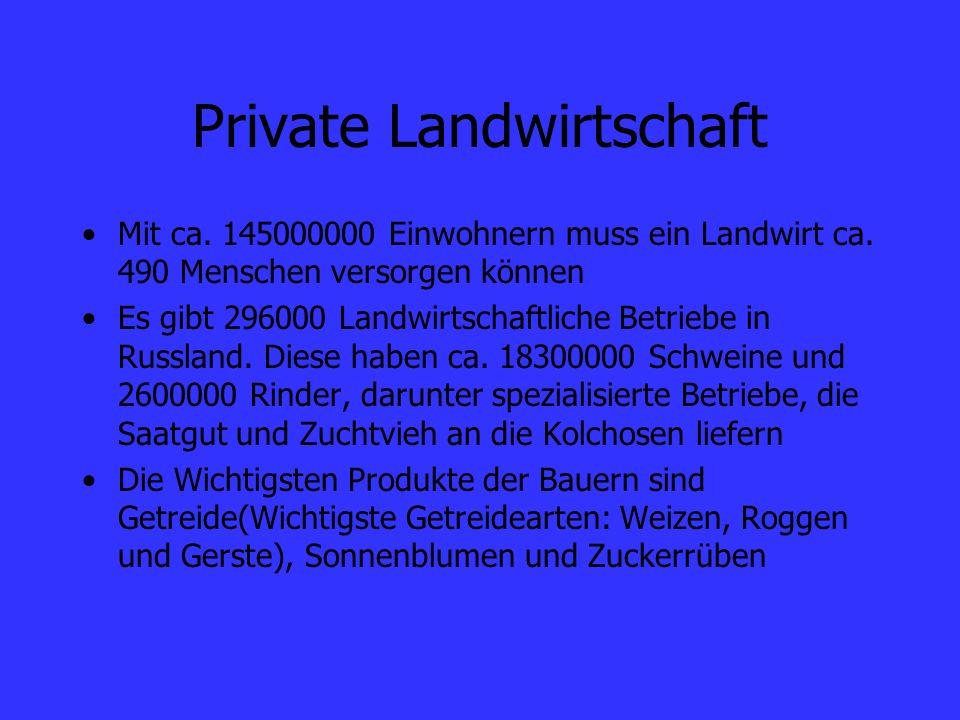 Private Landwirtschaft Mit ca. 145000000 Einwohnern muss ein Landwirt ca. 490 Menschen versorgen können Es gibt 296000 Landwirtschaftliche Betriebe in