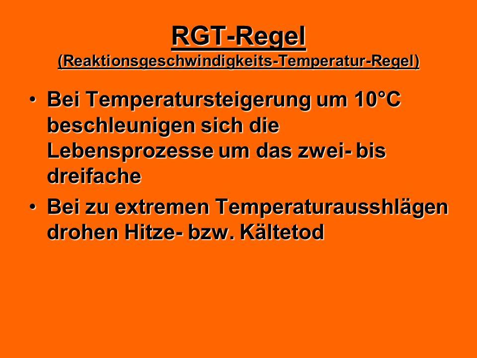 RGT-Regel (Reaktionsgeschwindigkeits-Temperatur-Regel) Bei Temperatursteigerung um 10°C beschleunigen sich die Lebensprozesse um das zwei- bis dreifac