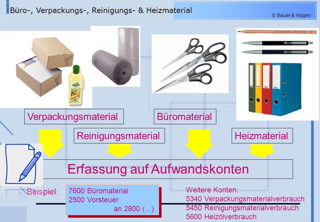 © Bauer & Hagen Verpackungsmaterial Reinigungsmaterial Büromaterial Heizmaterial 7600 Büromaterial 2500 Vorsteuer an 2800 (...) 7600 Büromaterial 2500