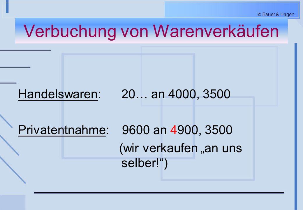 © Bauer & Hagen Verbuchung von Warenrücksendungen An Lieferanten: 33… an 5010, 2500 Von Kunden: 4000, 3500 an 20…