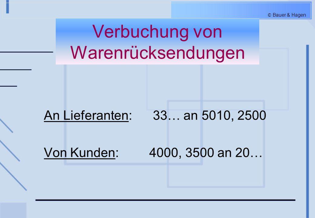 © Bauer & Hagen Abschluss des Warenkontos Der Endbestand auf dem Warenkonto ergibt sich durch die Inventur am Jahresende.