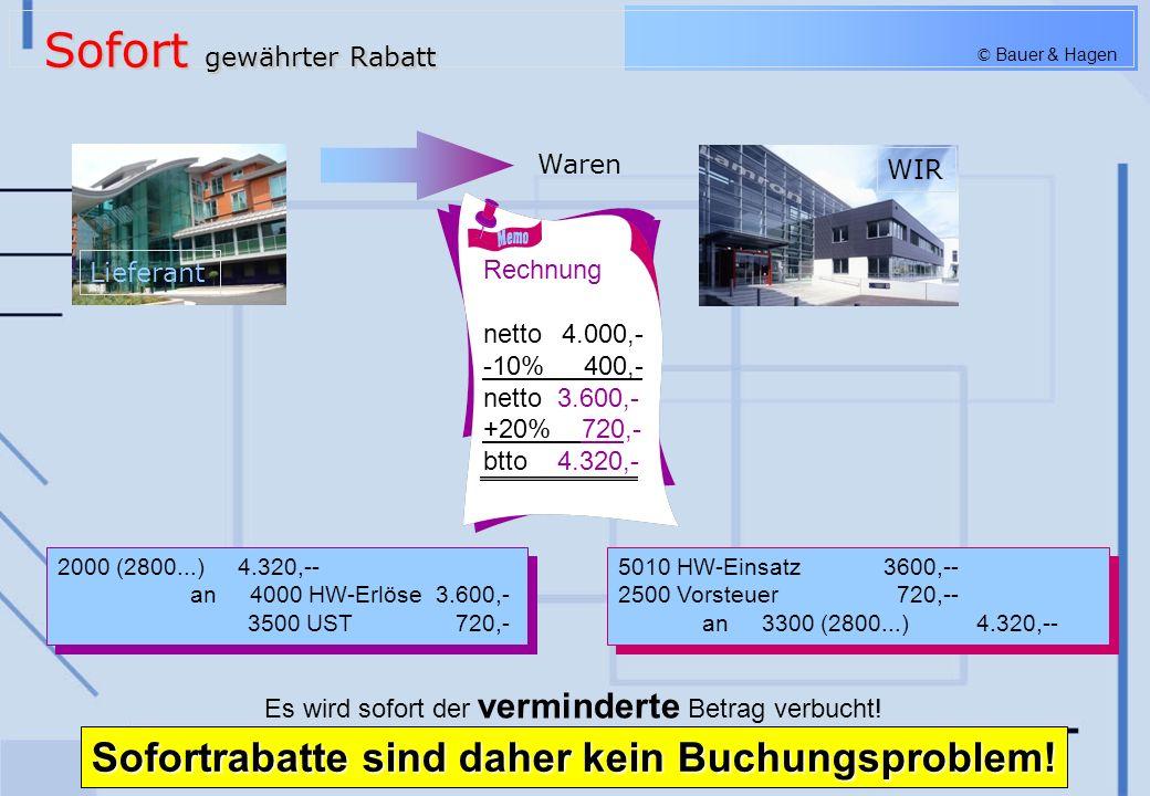 © Bauer & Hagen Rechnung netto 4.000,-- +20% 800,-- btto 4.800,-- Gutschrift netto 400,-- +20% 80,-- btto 480,-- 5010 HW-Einsatz4.000,-- 2500 Vorsteuer 800,-- an 3300 (2800...) 4.800,- 5010 HW-Einsatz4.000,-- 2500 Vorsteuer 800,-- an 3300 (2800...) 4.800,- 2000 Lieferford.