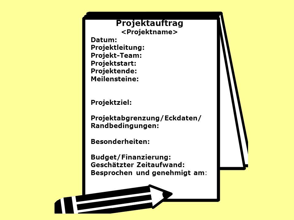 Projektauftrag Datum: Projektleitung: Projekt-Team: Projektstart: Projektende: Meilensteine: Projektziel: Projektabgrenzung/Eckdaten/ Randbedingungen: