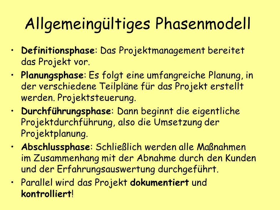 Allgemeingültiges Phasenmodell Definitionsphase: Das Projektmanagement bereitet das Projekt vor. Planungsphase: Es folgt eine umfangreiche Planung, in
