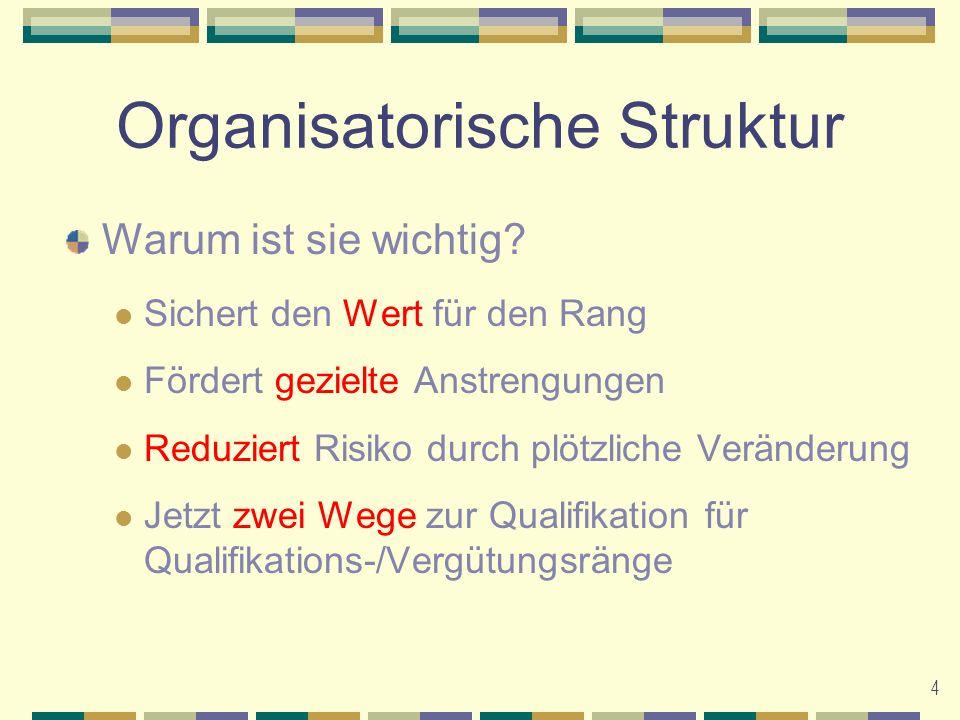 5 Organisatorische Struktur Derzeitiger Weg zum Qualifikationsrang Qualifikationsränge der ersten Ebene Derzeitiger Weg zum Vergütungsrang Qualifizierte Zweige