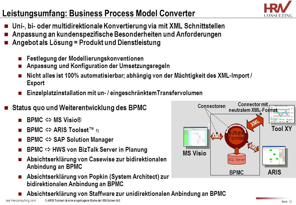 ww.hrw-consulting.com Seite 12 Leistungsumfang: Business Process Model Converter Uni-, bi- oder multidirektionale Konvertierung via mit XML Schnittste