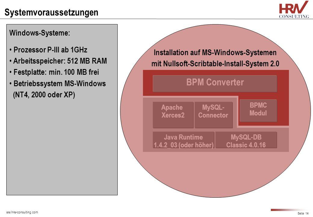 ww.hrw-consulting.com Seite 14 Systemvoraussetzungen Java Runtime 1.4.2_03 (oder höher) Apache Xerces2 MySQL-DB Classic 4.0.16 MySQL- Connector BPMC M
